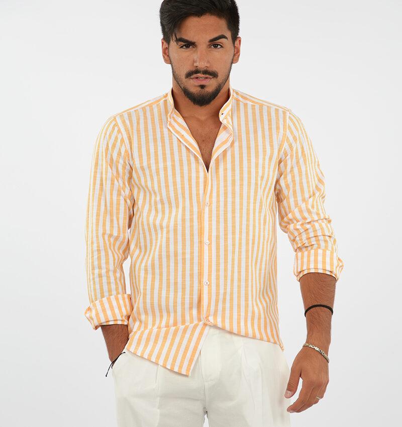 abbigliamento uomo (78) - camicia coreana uomo rigata arancio.jpg