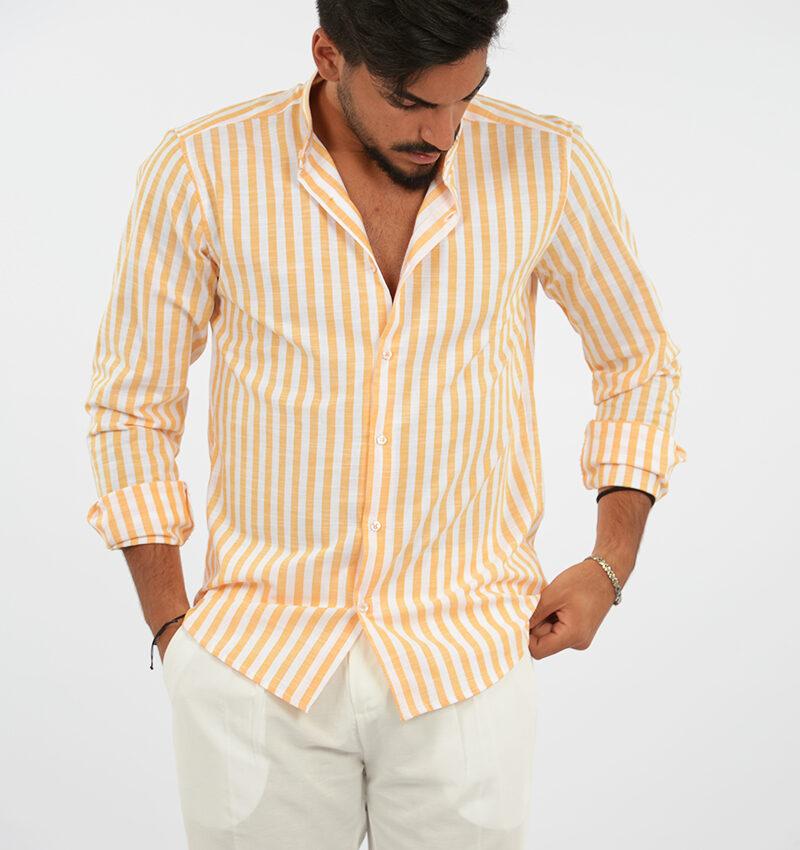 abbigliamento uomo (80) - camicia coreana uomo rigata arancio.jpg
