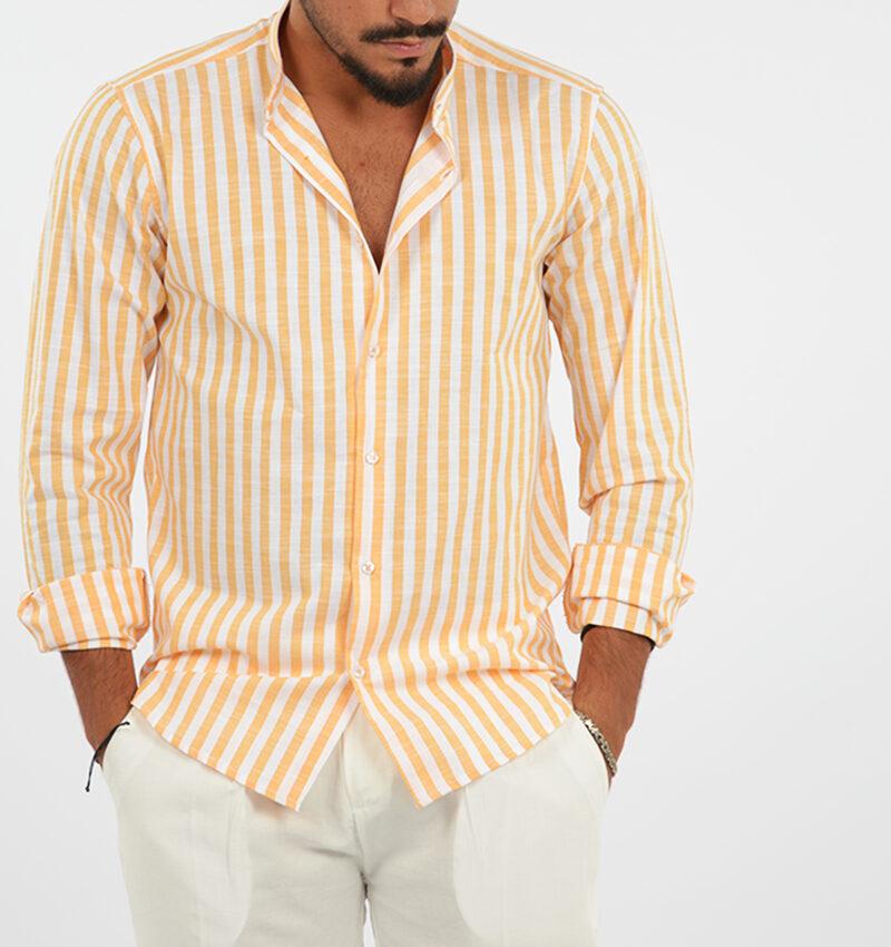 abbigliamento uomo (81) - camicia coreana uomo rigata arancio.jpg