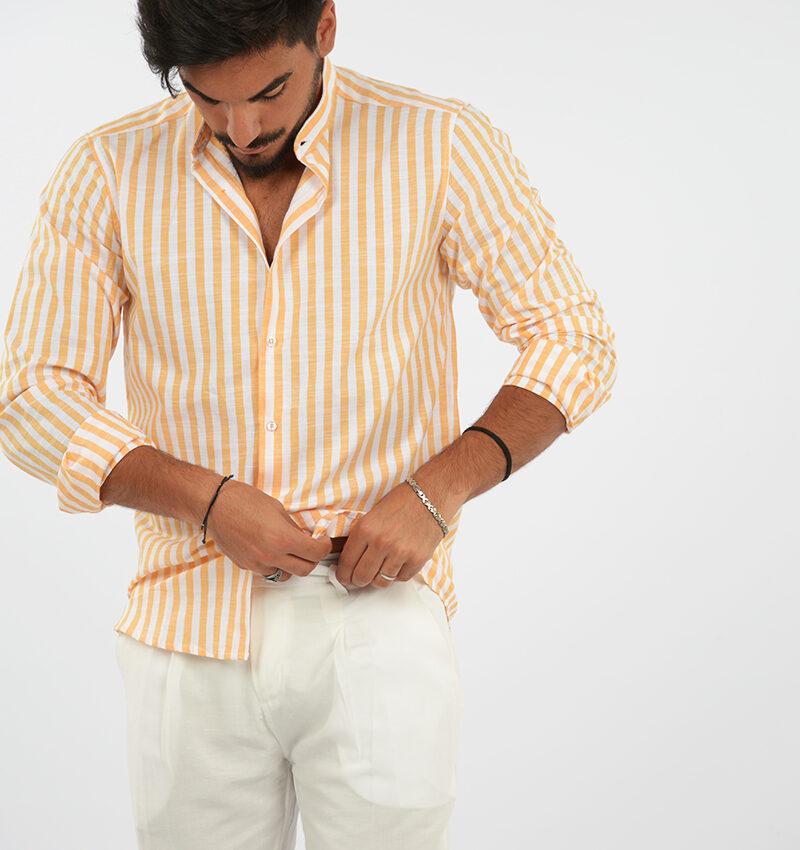 abbigliamento uomo (83) - camicia coreana uomo rigata arancio.jpg