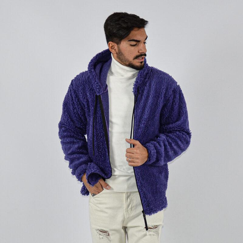 abbigliamento uomo online - felpa uomo con zip teddy con cappuccio viola.jpg