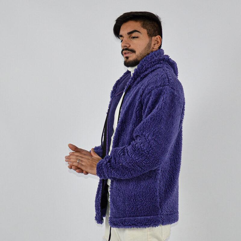 abbigliamento uomo online - felpa uomo con zip teddy con cappuccio viola (2).jpg