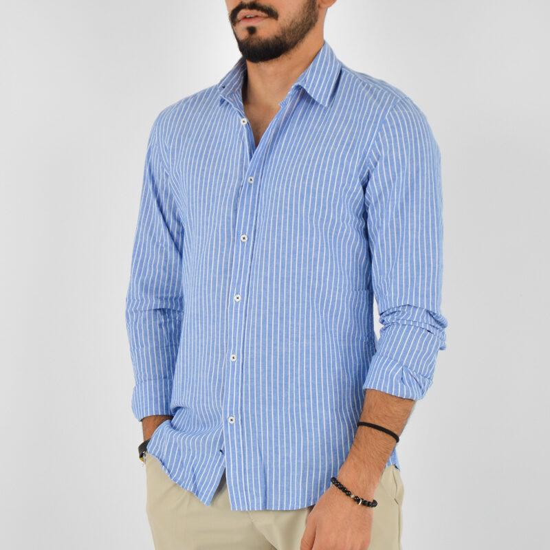 abbigliamento uomo online - camicia uomo collo lino fondo blu (2).jpg
