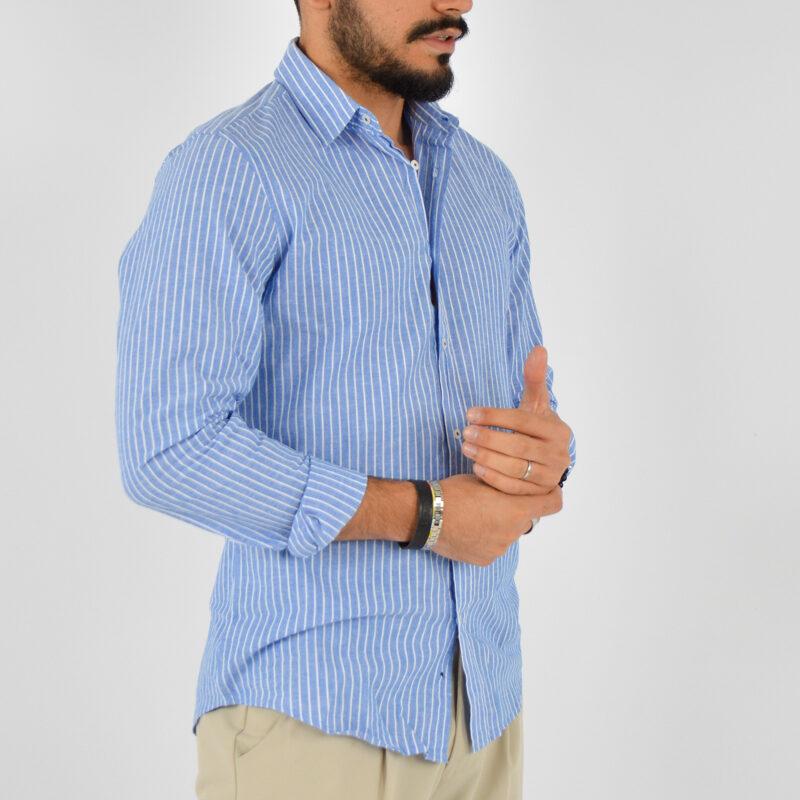 abbigliamento uomo online - camicia uomo collo lino fondo blu (4).jpg