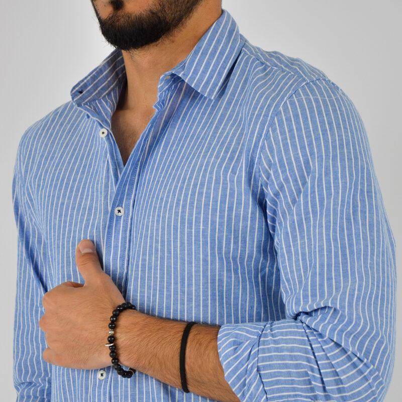 abbigliamento uomo online - camicia uomo collo lino fondo blu (5).jpg
