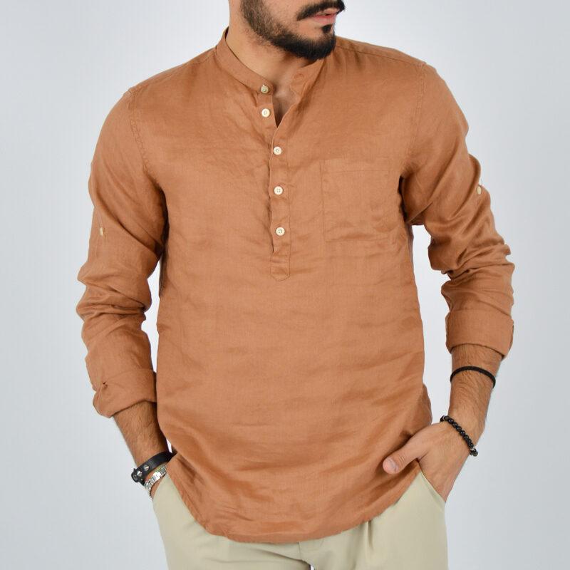 abbigliamento uomo online - camicia uomo lino mezzo bottone marrone (1).jpg