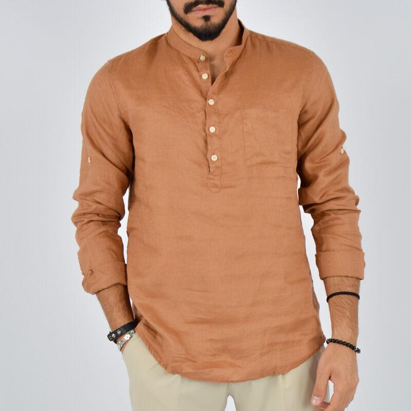 abbigliamento uomo online - camicia uomo lino mezzo bottone marrone (2).jpg