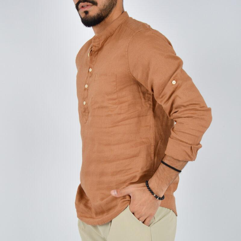 abbigliamento uomo online - camicia uomo lino mezzo bottone marrone (3).jpg