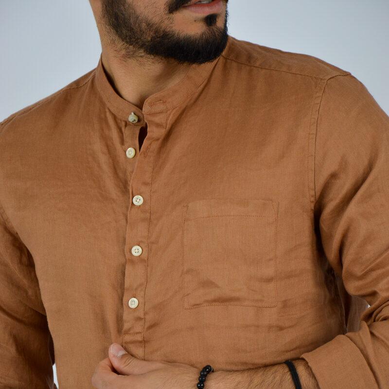 abbigliamento uomo online - camicia uomo lino mezzo bottone marrone (4).jpg