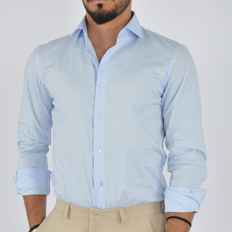 abbigliamento uomo online - camicia uomo in cotone collo francese celeste (1).jpg