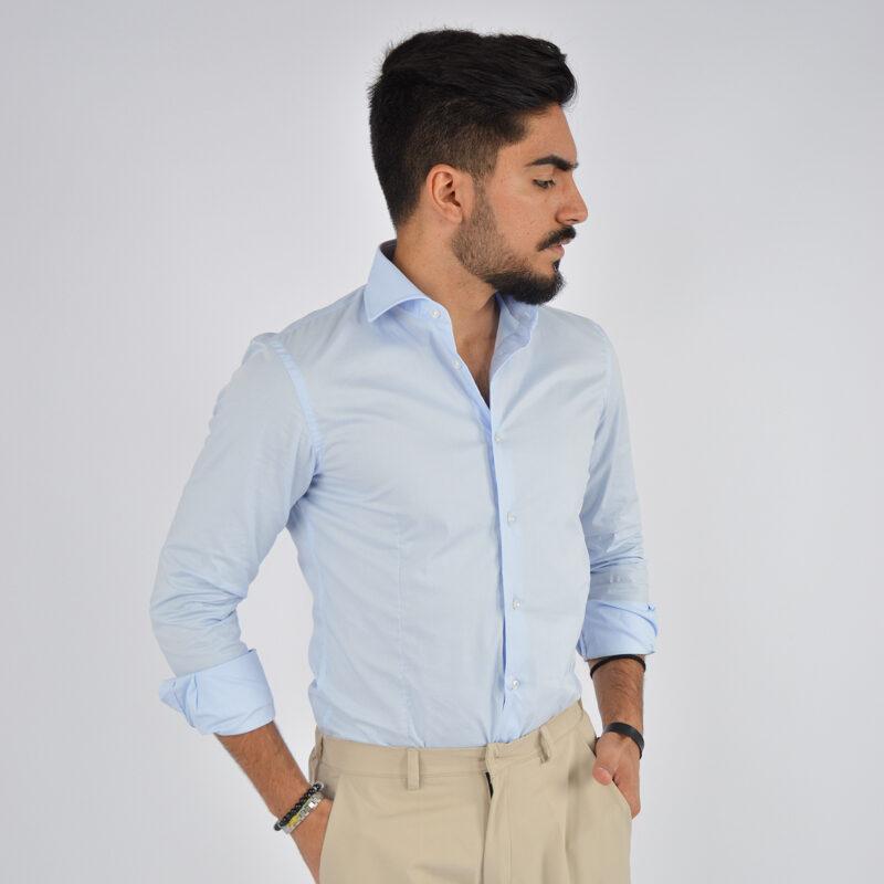 abbigliamento uomo online - camicia uomo in cotone collo francese celeste (3).jpg