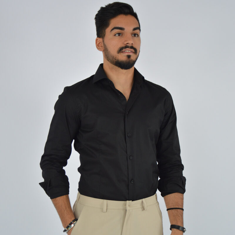 abbigliamento uomo online - camicia uomo in cotone collo francese nera (2).jpg