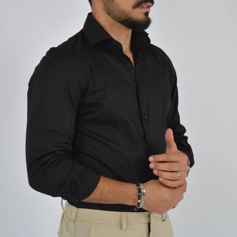 abbigliamento uomo online - camicia uomo in cotone collo francese nera (3).jpg