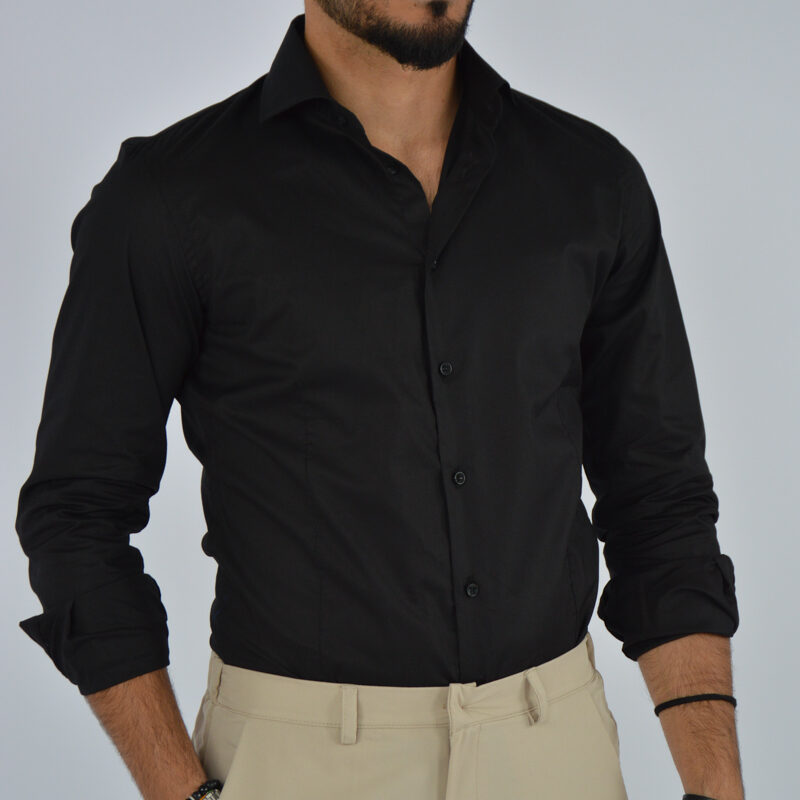 abbigliamento uomo online - camicia uomo in cotone collo francese nera (4).jpg