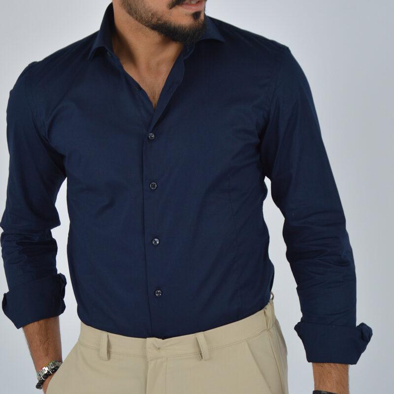 abbigliamento uomo online - camicia uomo in cotone collo francese blu (4).jpg