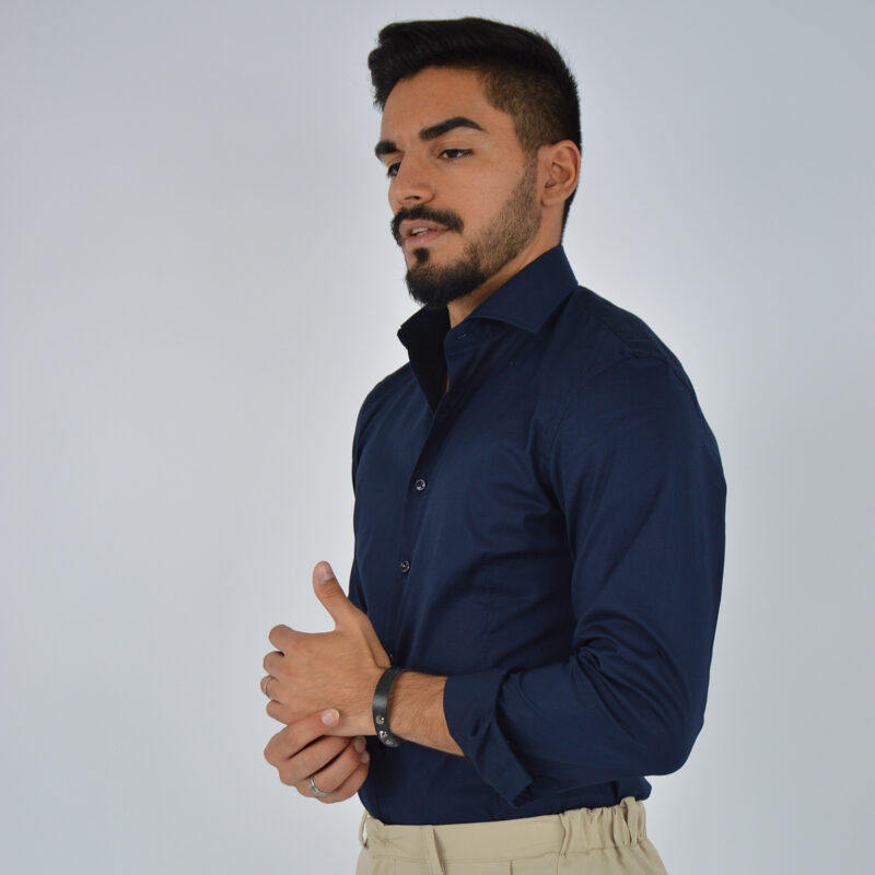 abbigliamento uomo online - camicia uomo in cotone collo francese blu (5).jpg