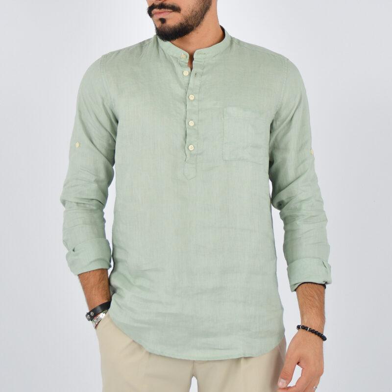 abbigliamento uomo online - camicia uomo lino mezzo bottone verde (1).jpg