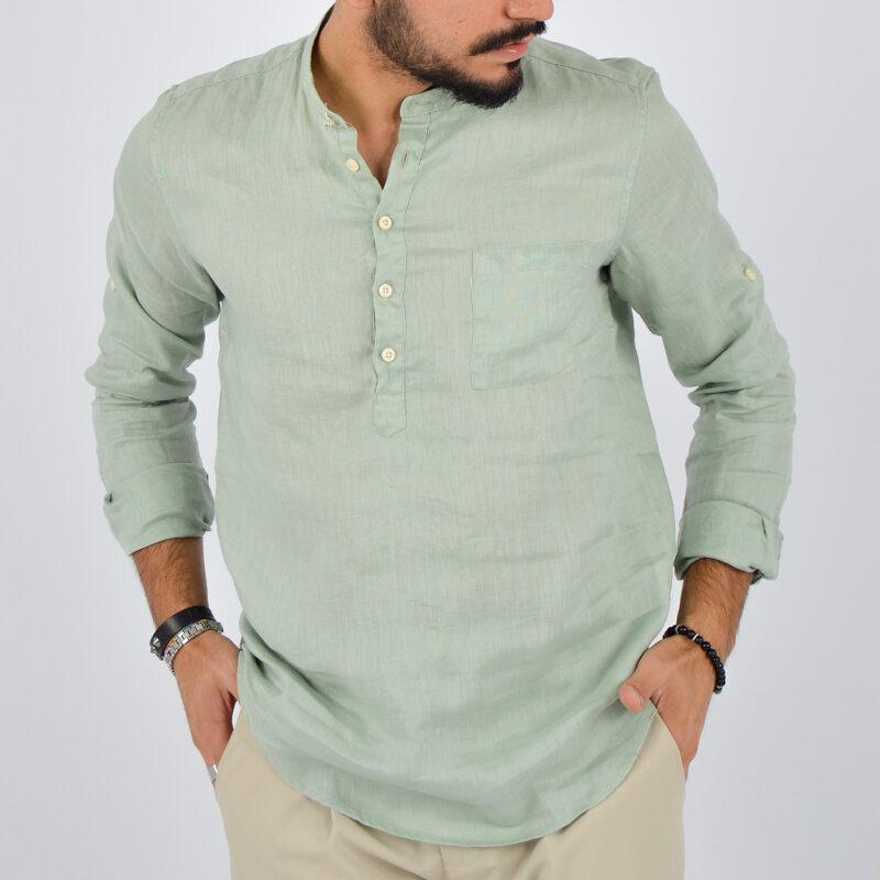 abbigliamento uomo online - camicia uomo lino mezzo bottone verde (3).jpg