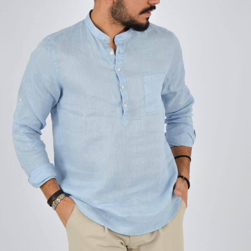 abbigliamento uomo online - camicia uomo lino mezzo bottone celeste (3).jpg