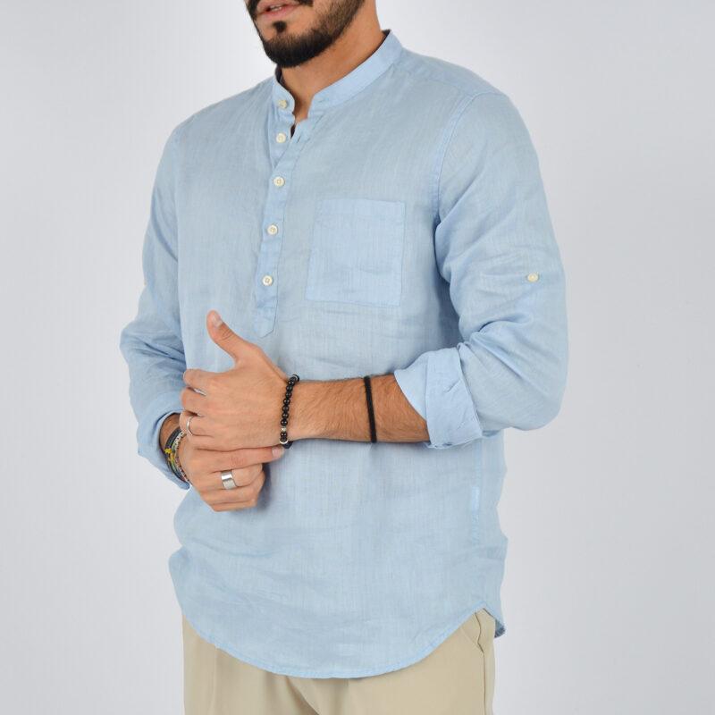 abbigliamento uomo online - camicia uomo lino mezzo bottone celeste (4).jpg