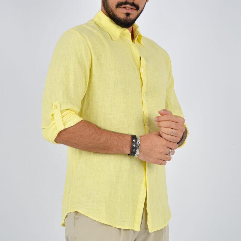 abbigliamento uomo online - camicia uomo manica lunga colletto giallo (4).jpg