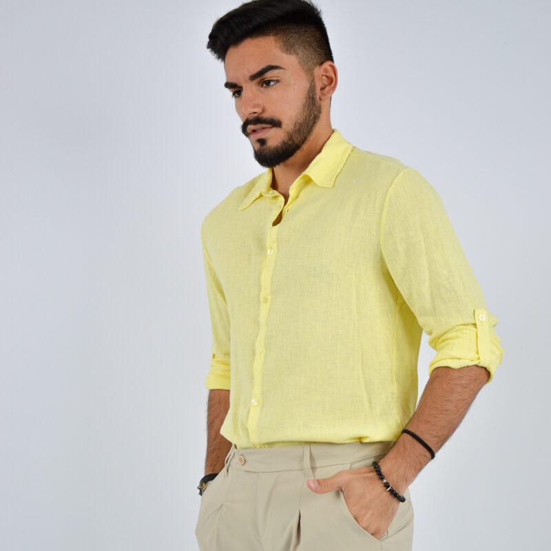 abbigliamento uomo online - camicia uomo manica lunga colletto giallo (5).jpg