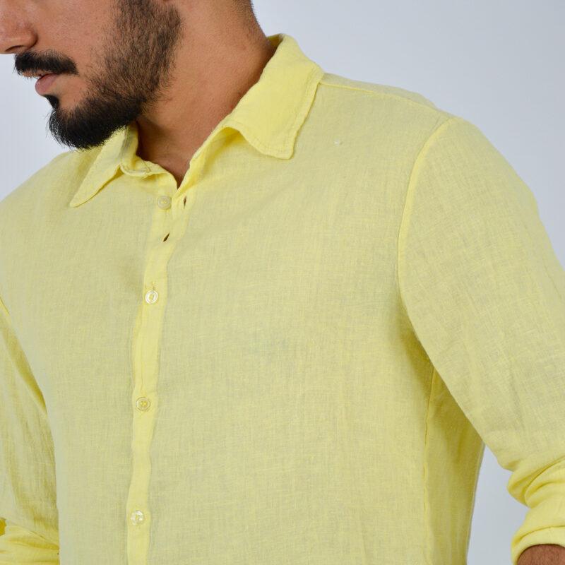 abbigliamento uomo online - camicia uomo manica lunga colletto giallo (7).jpg