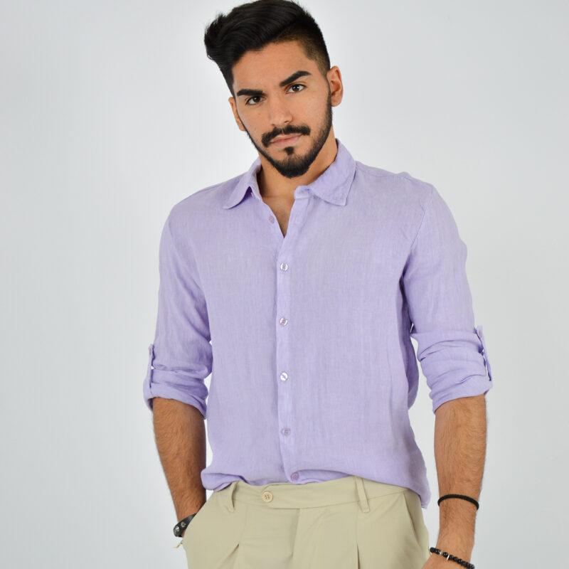 abbigliamento uomo online - camicia uomo manica lunga colletto lilla (5).jpg