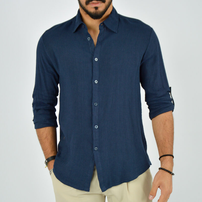 abbigliamento uomo online - camicia uomo manica lunga colletto blu (1).jpg