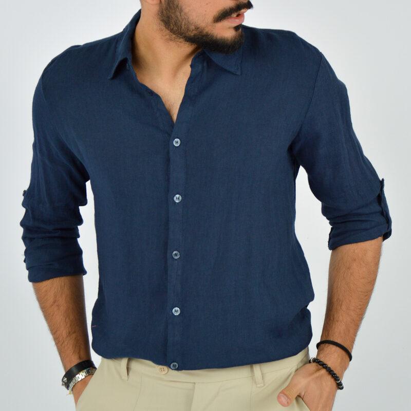 abbigliamento uomo online - camicia uomo manica lunga colletto blu (5).jpg