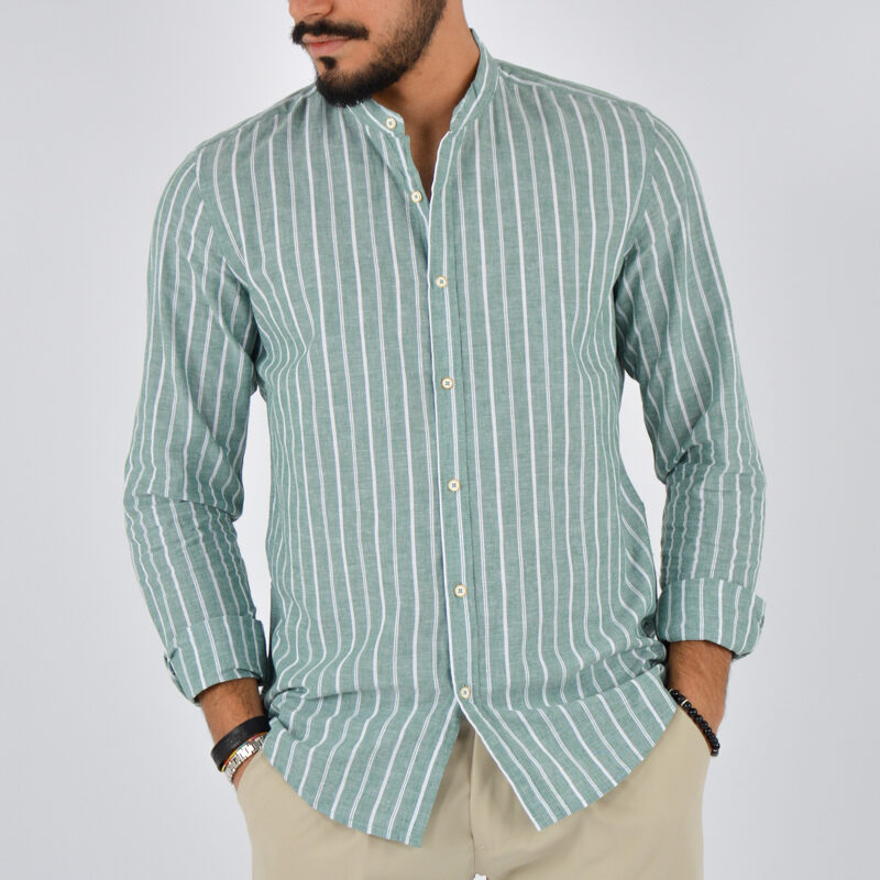 abbigliamento uomo online - camicia uomo coreana lino fondo verde (1).jpg