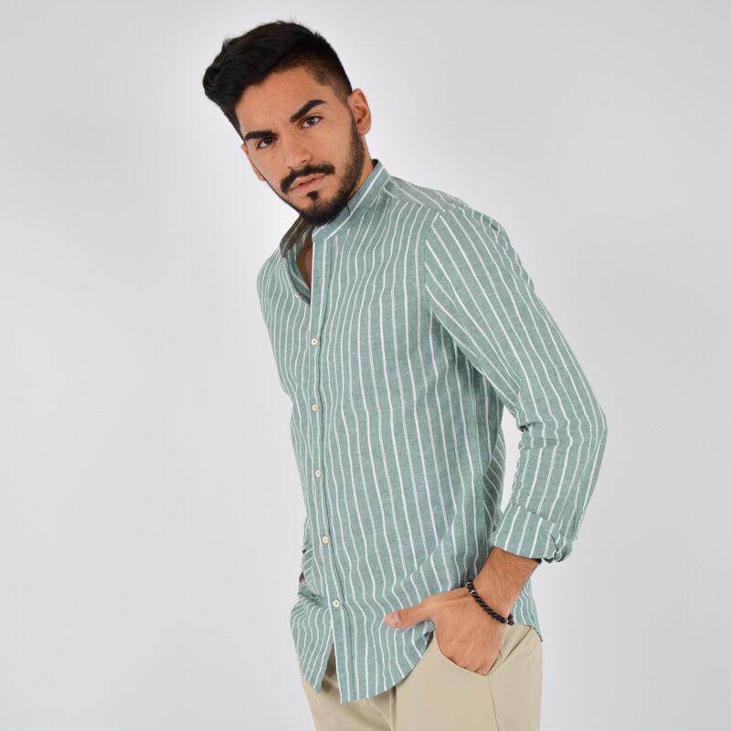 abbigliamento uomo online - camicia uomo coreana lino fondo verde (4).jpg