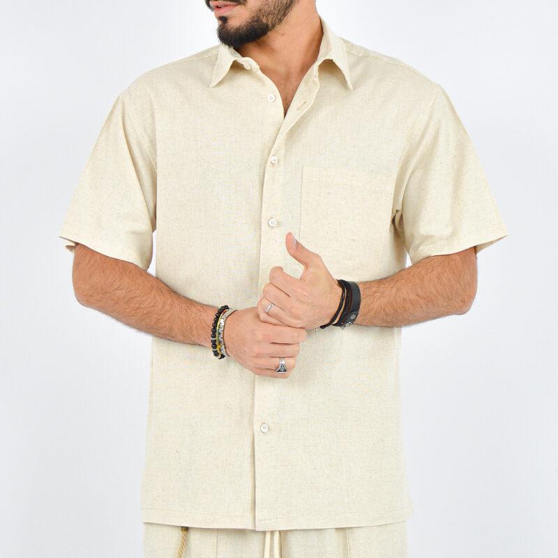 abbigliamento uomo online - camicia uomo maniche corte beige (2).jpg