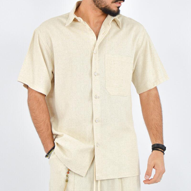 abbigliamento uomo online - camicia uomo maniche corte beige (3).jpg