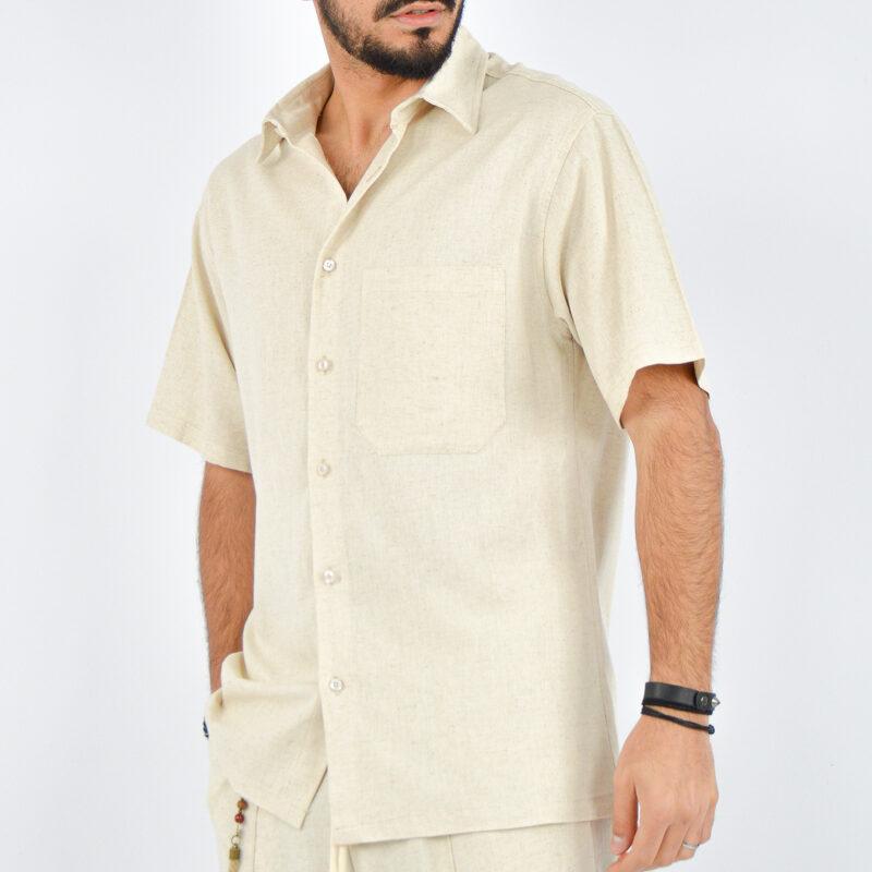 abbigliamento uomo online - camicia uomo maniche corte beige (4).jpg