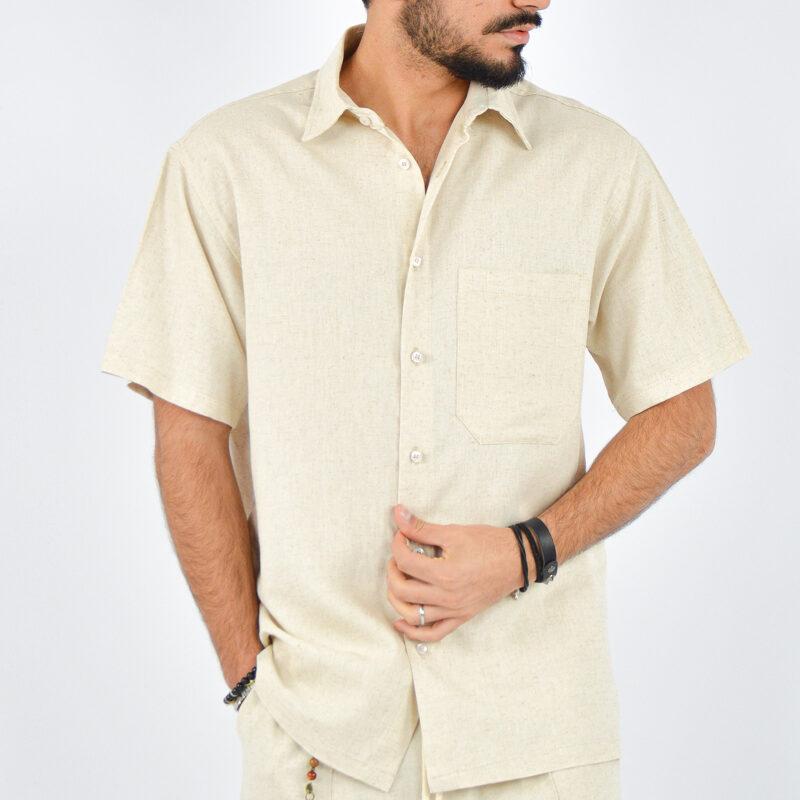 abbigliamento uomo online - camicia uomo maniche corte beige (5).jpg