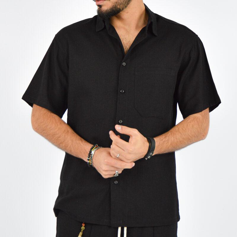 abbigliamento uomo online - camicia uomo maniche corte nera (3).jpg