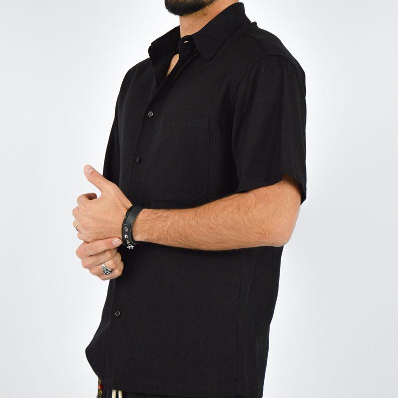 abbigliamento uomo online - camicia uomo maniche corte nera (4).jpg