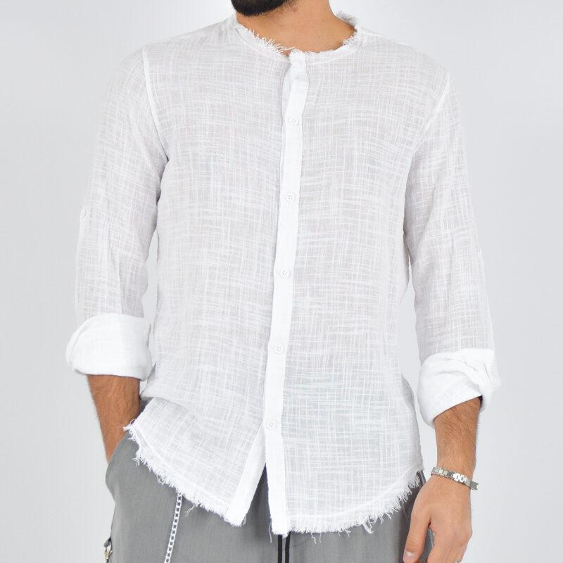 abbigliamento uomo online - camicia uomo con collo sfrangiato bianca (1).jpg