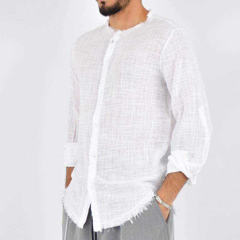 abbigliamento uomo online - camicia uomo con collo sfrangiato bianca (2).jpg