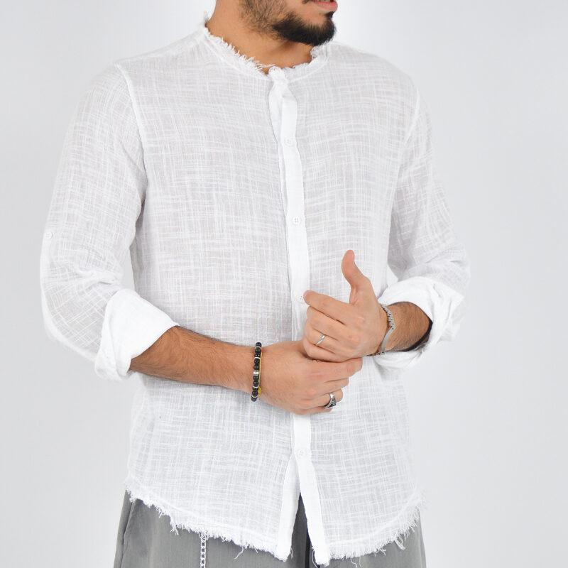 abbigliamento uomo online - camicia uomo con collo sfrangiato bianca (3).jpg