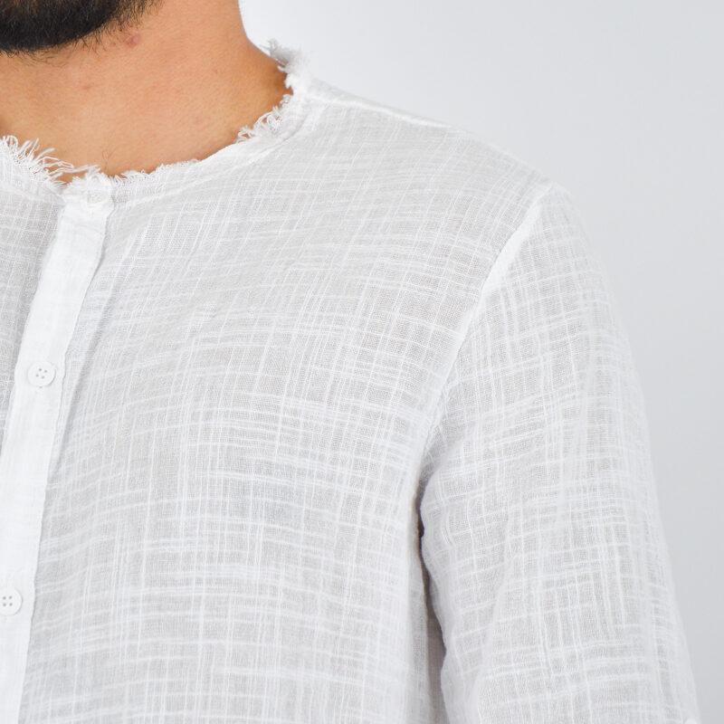 abbigliamento uomo online - camicia uomo con collo sfrangiato bianca (4).jpg