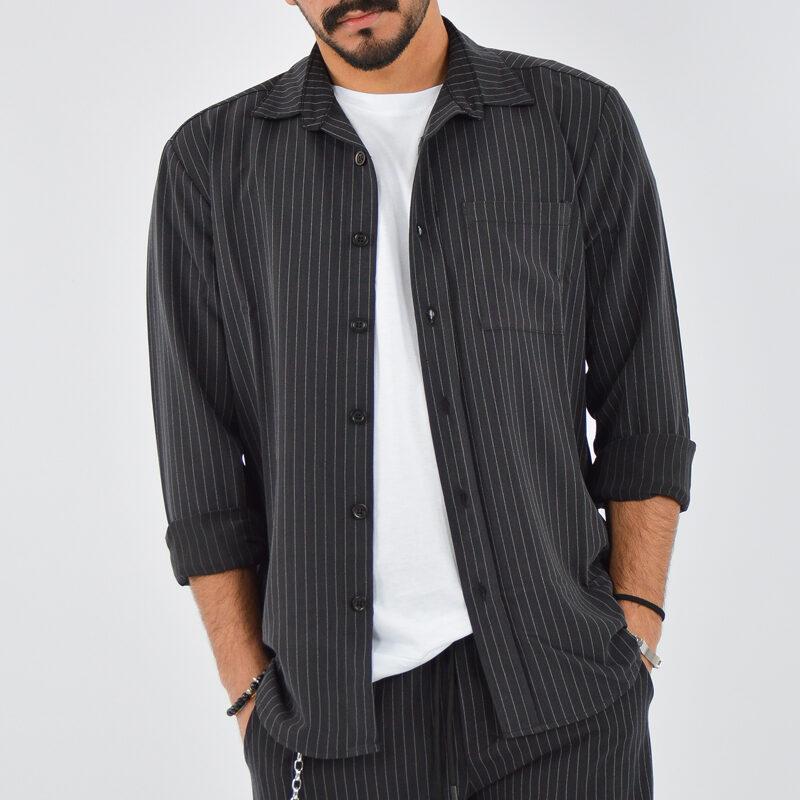 abbigliamento uomo online - camicia uomo con tasca gessato nero.jpg