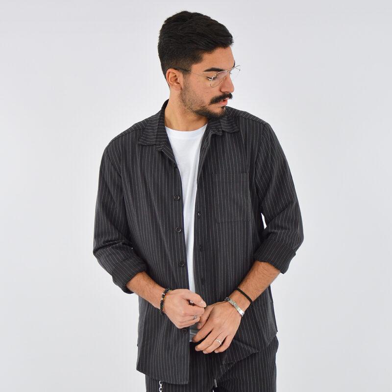 abbigliamento uomo online - camicia uomo con tasca gessato nero (1).jpg