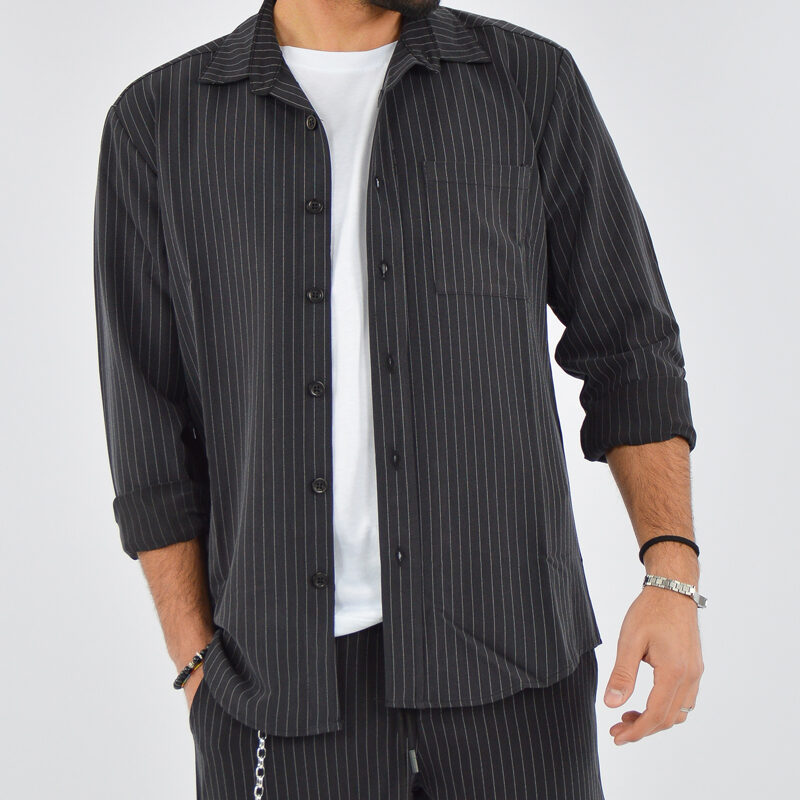 abbigliamento uomo online - camicia uomo con tasca gessato nero (2).jpg