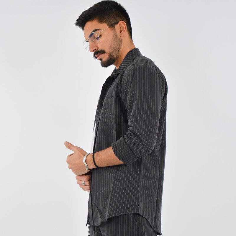 abbigliamento uomo online - camicia uomo con tasca gessato nero (3).jpg