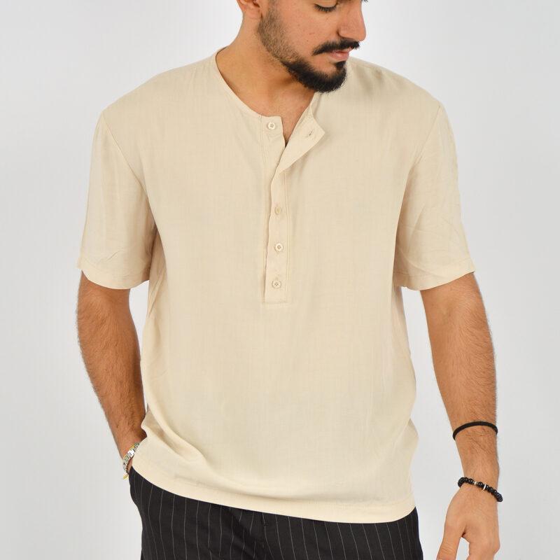 ABBIGLIAMENTO UOMO ONLINE - camicia uomo serafino manica corta beige (2).jpg