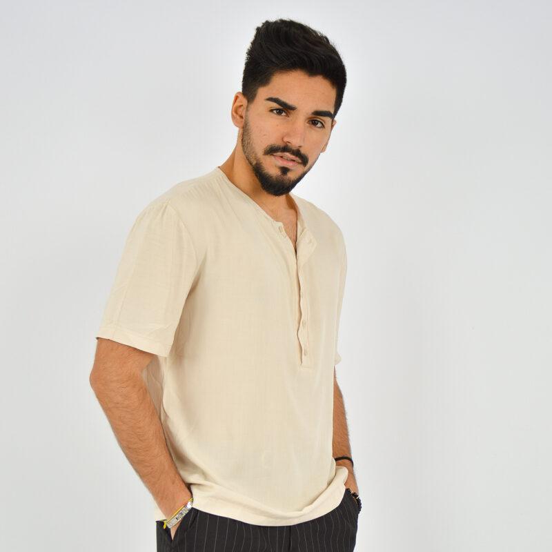 ABBIGLIAMENTO UOMO ONLINE - camicia uomo serafino manica corta beige (3).jpg