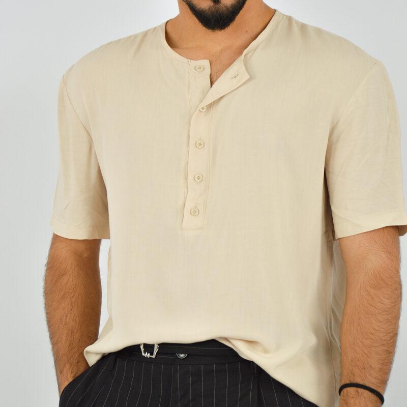 ABBIGLIAMENTO UOMO ONLINE - camicia uomo serafino manica corta beige (4).jpg