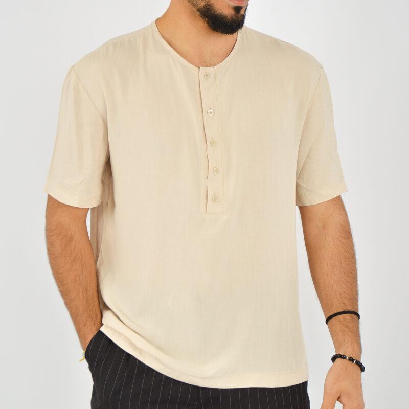ABBIGLIAMENTO UOMO ONLINE - camicia uomo serafino manica corta beige (5).jpg